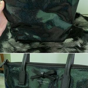 Kate Spade Black blue glitter bag with wallet